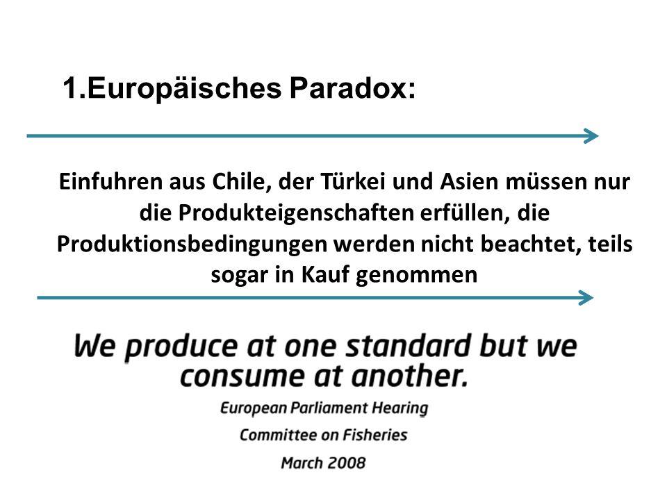 Freshwater aquaculture in the EU aquaculture scene Einfuhren aus Chile, der Türkei und Asien müssen nur die Produkteigenschaften erfüllen, die Produkt
