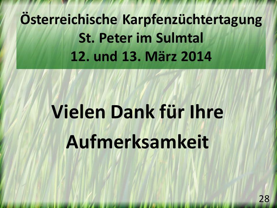 Vielen Dank für Ihre Aufmerksamkeit 28 Österreichische Karpfenzüchtertagung St. Peter im Sulmtal 12. und 13. März 2014