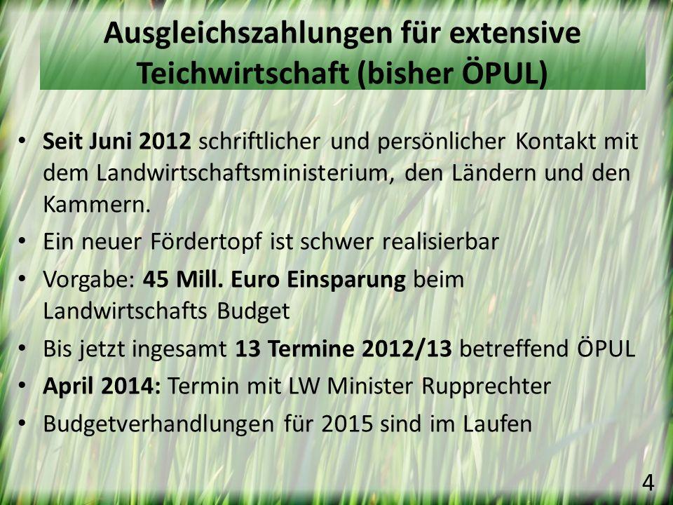 Die Österreichische Karpfenteichwirtschaft deckt nur 50% des Bedarfes Produktionsteigerung durch Neubau von Teichen ist erwünscht Bei Verlust der Ausgleichszahlungen ist dies sicher nicht möglich, sogar ein Rückgang ist zu erwarten Ein weiteres Hindernis bei der Neuanlage von Teichen ist das Wasserrecht Strategie Aquakultur 2020 5