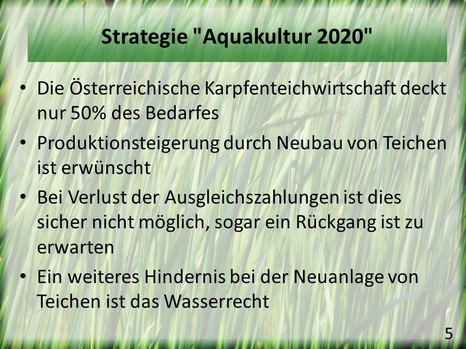 Die Österreichische Karpfenteichwirtschaft deckt nur 50% des Bedarfes Produktionsteigerung durch Neubau von Teichen ist erwünscht Bei Verlust der Ausg