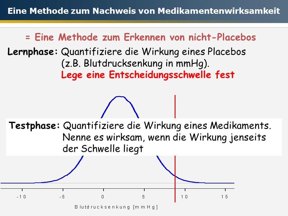 = Eine Methode zum Erkennen von nicht-Placebos Testphase: Quantifiziere die Wirkung eines Medikaments. Nenne es wirksam, wenn die Wirkung jenseits der