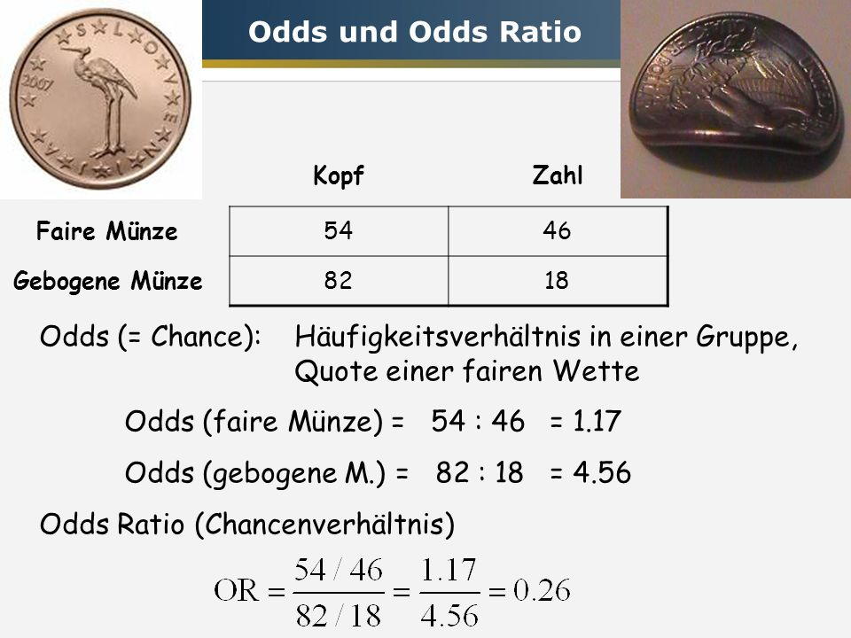 KopfZahl Faire Münze5446 Gebogene Münze8218 Odds (= Chance): Häufigkeitsverhältnis in einer Gruppe, Quote einer fairen Wette Odds (faire Münze) = 54 : 46 = 1.17 Odds (gebogene M.) = 82 : 18= 4.56 Odds Ratio (Chancenverhältnis) Odds und Odds Ratio