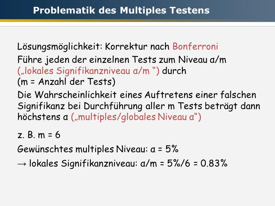 Lösungsmöglichkeit: Korrektur nach Bonferroni Führe jeden der einzelnen Tests zum Niveau α/m (lokales Signifikanzniveau α/m ) durch (m = Anzahl der Tests) Die Wahrscheinlichkeit eines Auftretens einer falschen Signifikanz bei Durchführung aller m Tests beträgt dann höchstens α (multiples/globales Niveau α) z.