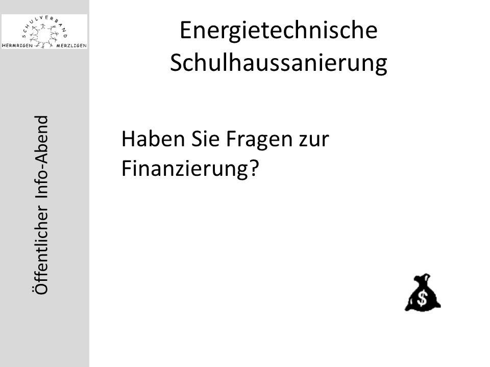 Öffentlicher Info-Abend Energietechnische Schulhaussanierung Haben Sie Fragen zur Finanzierung?