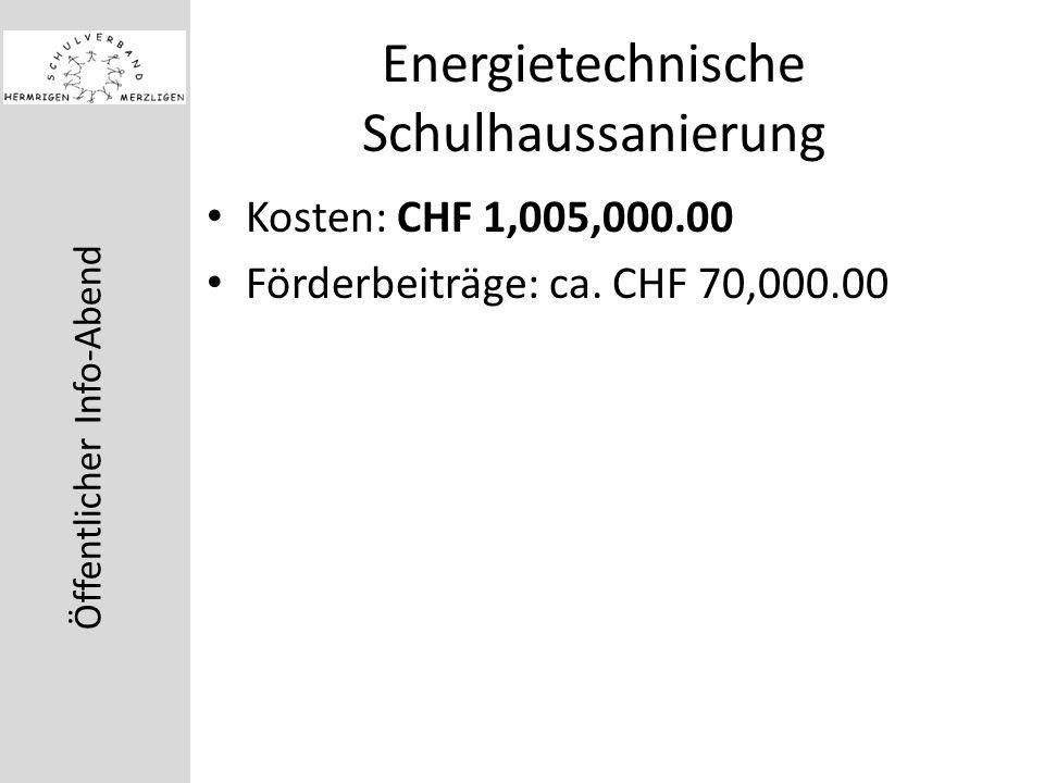 Öffentlicher Info-Abend Energietechnische Schulhaussanierung Kosten: CHF 1,005,000.00 Förderbeiträge: ca.