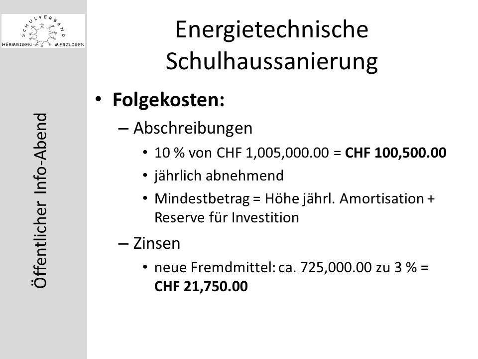 Öffentlicher Info-Abend Energietechnische Schulhaussanierung Folgekosten: – Abschreibungen 10 % von CHF 1,005,000.00 = CHF 100,500.00 jährlich abnehmend Mindestbetrag = Höhe jährl.