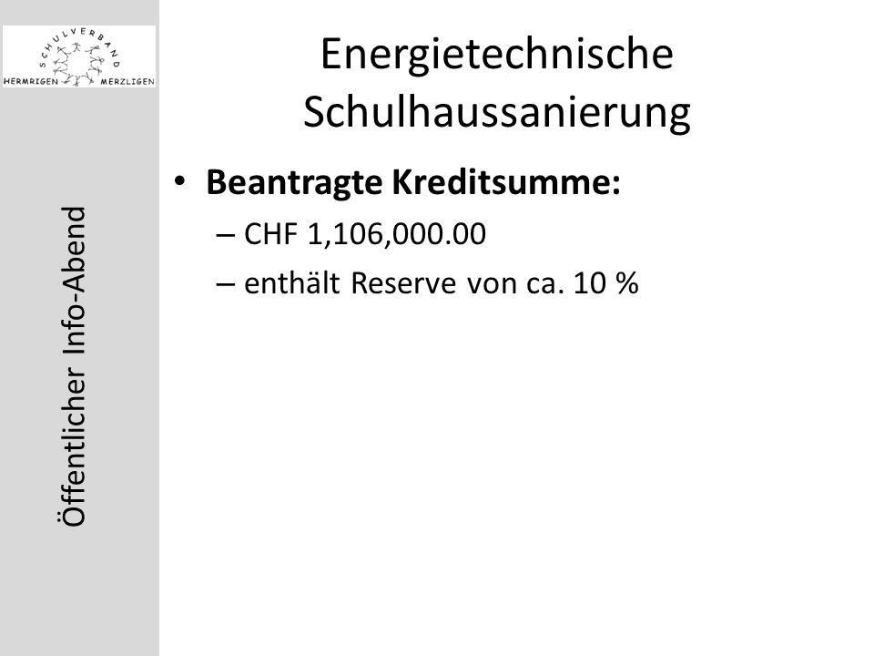 Öffentlicher Info-Abend Energietechnische Schulhaussanierung Beantragte Kreditsumme: – CHF 1,106,000.00 – enthält Reserve von ca.
