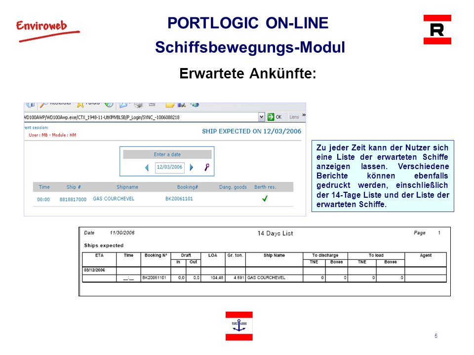 5 PORTLOGIC ON-LINE Schiffsbewegungs-Modul Erwartete Ankünfte: Zu jeder Zeit kann der Nutzer sich eine Liste der erwarteten Schiffe anzeigen lassen. V