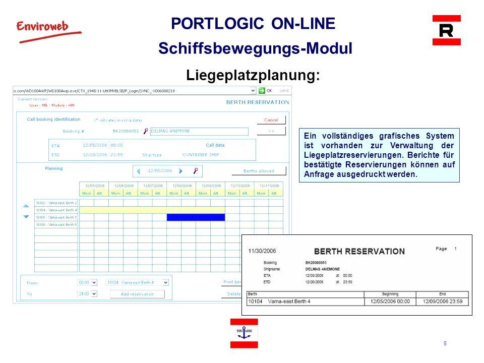 7 PORTLOGIC ON-LINE Schiffsbewegungs-Modul Planung von Hafendienstleistungen für ein Schiff: Dienstleistungen an das Schiff während des Schiffsanlaufs werden aufgezeichnet.