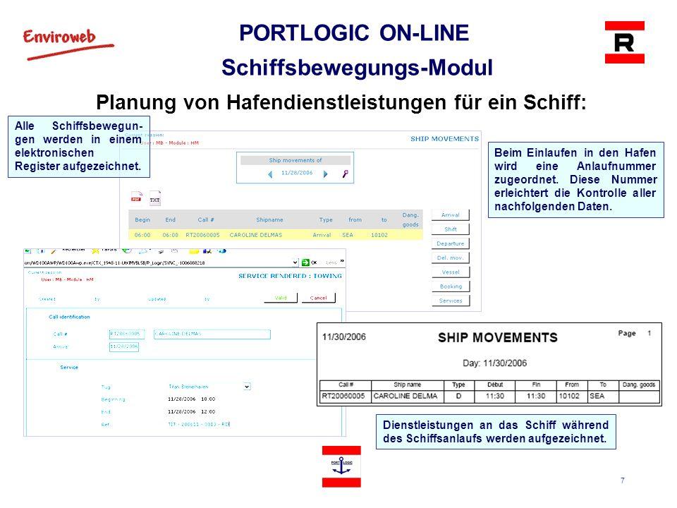 8 PORTLOGIC ON-LINE Schiffsbewegungs-Modul Anlaufbericht: Der Anlaufbericht fasst alle dem Schiff während des Anlaufs geleisteten Dienste zusammen, einschließlich Liegeplatzbelegung, marine Dienste und verschiedene andere Dienstleistungen.