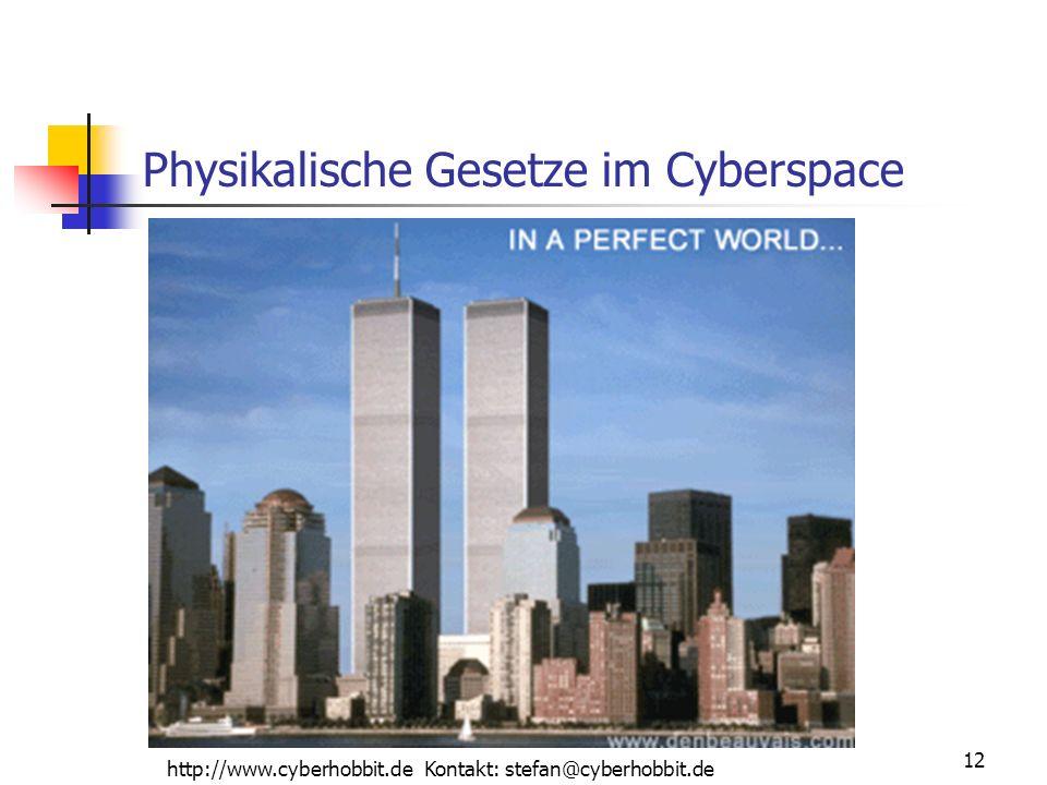 http://www.cyberhobbit.de Kontakt: stefan@cyberhobbit.de 12 Physikalische Gesetze im Cyberspace