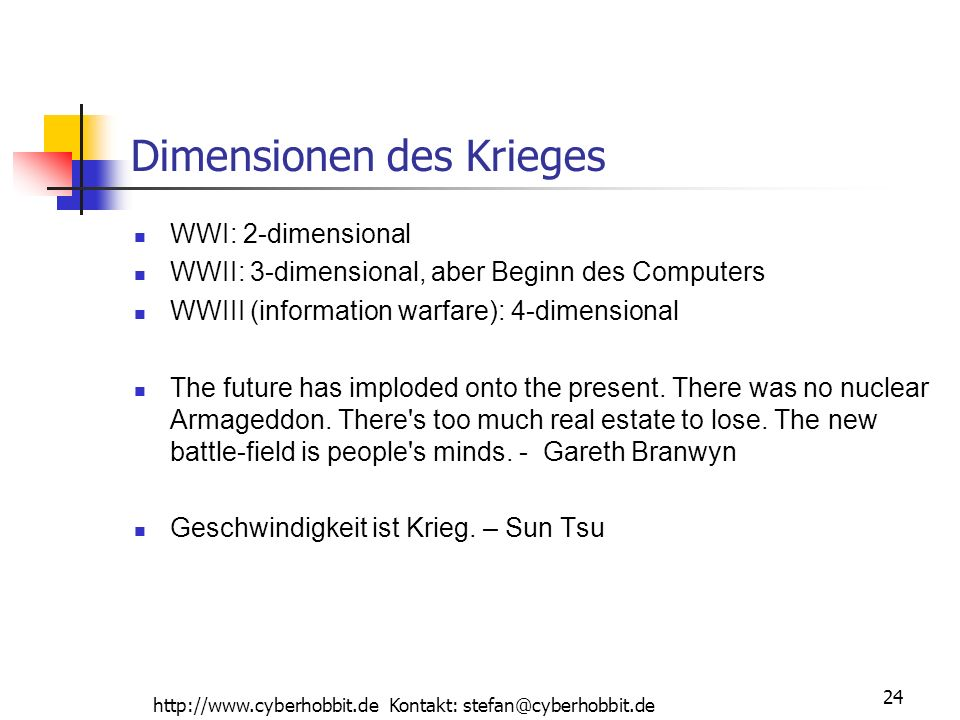 http://www.cyberhobbit.de Kontakt: stefan@cyberhobbit.de 24 Dimensionen des Krieges WWI: 2-dimensional WWII: 3-dimensional, aber Beginn des Computers WWIII (information warfare): 4-dimensional The future has imploded onto the present.
