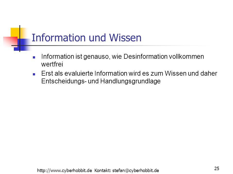 http://www.cyberhobbit.de Kontakt: stefan@cyberhobbit.de 25 Information und Wissen Information ist genauso, wie Desinformation vollkommen wertfrei Erst als evaluierte Information wird es zum Wissen und daher Entscheidungs- und Handlungsgrundlage