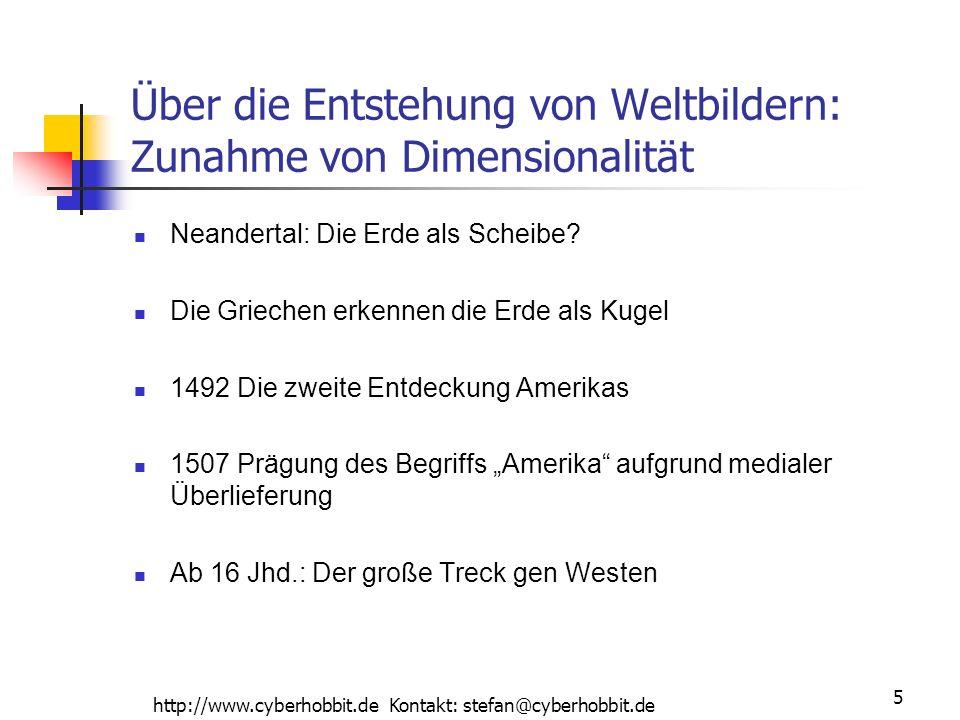 http://www.cyberhobbit.de Kontakt: stefan@cyberhobbit.de 5 Über die Entstehung von Weltbildern: Zunahme von Dimensionalität Neandertal: Die Erde als Scheibe.