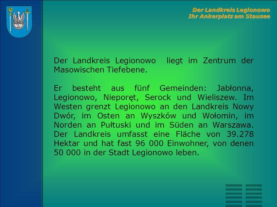 Der Landkreis Legionowo liegt im Zentrum der Masowischen Tiefebene. Er besteht aus fünf Gemeinden: Jabłonna, Legionowo, Nieporęt, Serock und Wieliszew