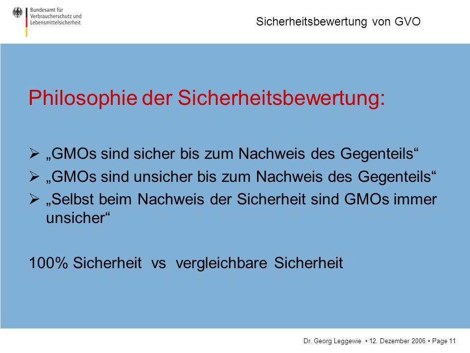 Dr. Georg Leggewie 12. Dezember 2006 Page 11 Sicherheitsbewertung von GVO Philosophie der Sicherheitsbewertung: GMOs sind sicher bis zum Nachweis des