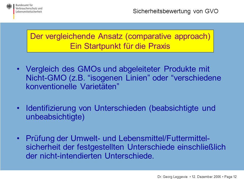 Dr. Georg Leggewie 12. Dezember 2006 Page 12 Sicherheitsbewertung von GVO Vergleich des GMOs und abgeleiteter Produkte mit Nicht-GMO (z.B. isogenen Li