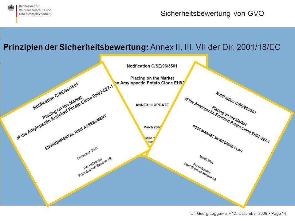 Dr. Georg Leggewie 12. Dezember 2006 Page 14 Sicherheitsbewertung von GVO Prinzipien der Sicherheitsbewertung: Annex II, III, VII der Dir. 2001/18/EC
