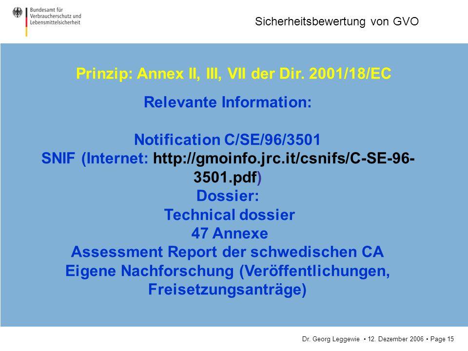 Dr. Georg Leggewie 12. Dezember 2006 Page 15 Sicherheitsbewertung von GVO Prinzip: Annex II, III, VII der Dir. 2001/18/EC Relevante Information: Notif