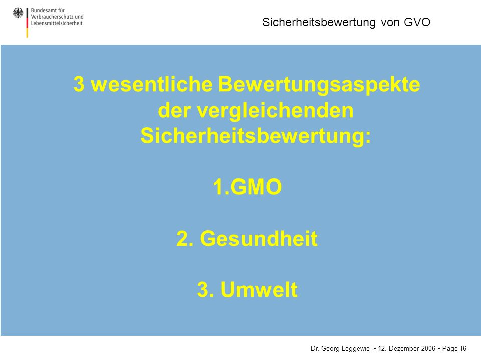 Dr. Georg Leggewie 12. Dezember 2006 Page 16 Sicherheitsbewertung von GVO 3 wesentliche Bewertungsaspekte der vergleichenden Sicherheitsbewertung: 1.G