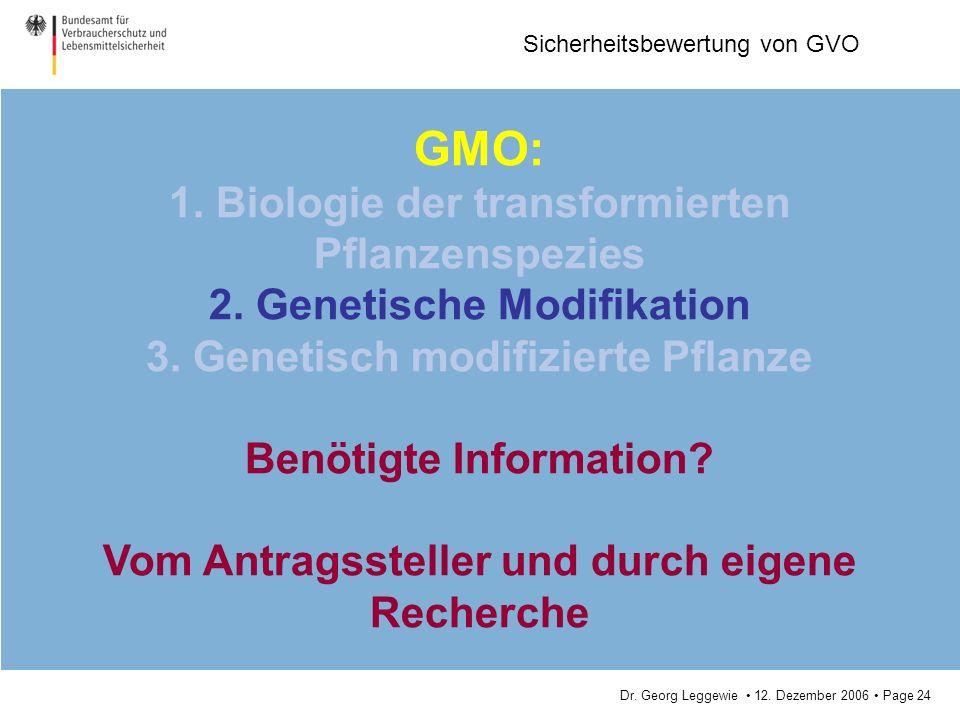 Dr. Georg Leggewie 12. Dezember 2006 Page 24 Sicherheitsbewertung von GVO GMO: 1. Biologie der transformierten Pflanzenspezies 2. Genetische Modifikat