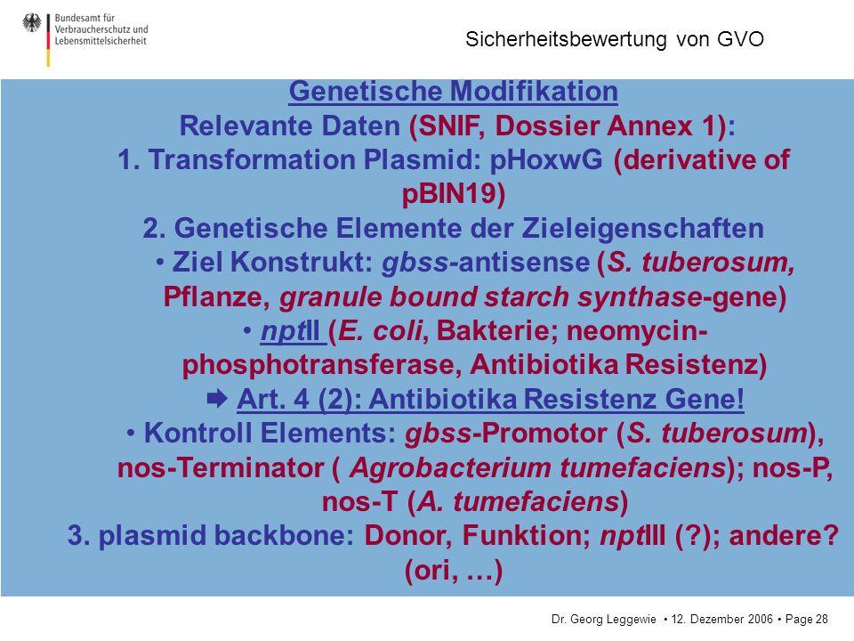 Dr. Georg Leggewie 12. Dezember 2006 Page 28 Sicherheitsbewertung von GVO Genetische Modifikation Relevante Daten (SNIF, Dossier Annex 1): 1. Transfor