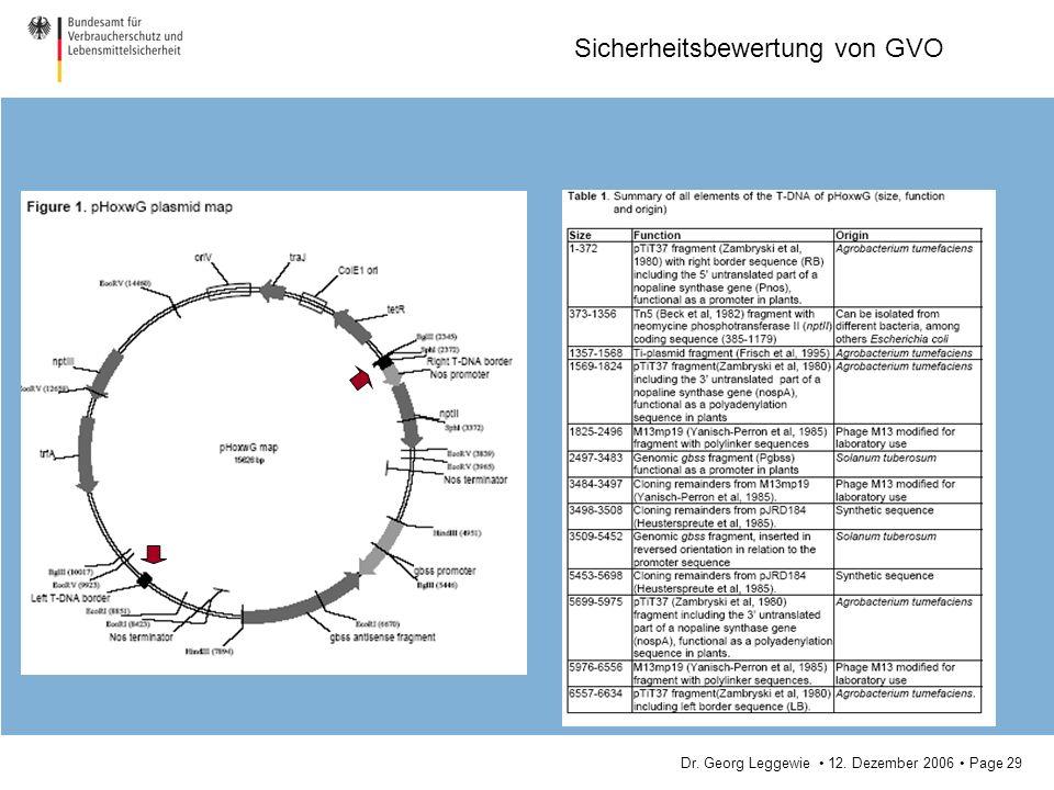 Dr. Georg Leggewie 12. Dezember 2006 Page 29 Sicherheitsbewertung von GVO