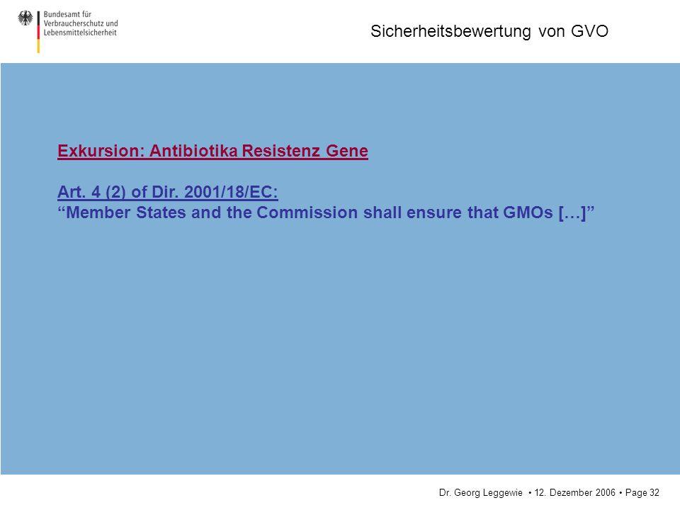Dr. Georg Leggewie 12. Dezember 2006 Page 32 Sicherheitsbewertung von GVO Exkursion: Antibiotika Resistenz Gene Art. 4 (2) of Dir. 2001/18/EC: Member