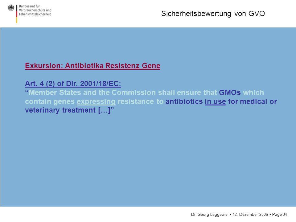 Dr. Georg Leggewie 12. Dezember 2006 Page 34 Sicherheitsbewertung von GVO Exkursion: Antibiotika Resistenz Gene Art. 4 (2) of Dir. 2001/18/EC: Member