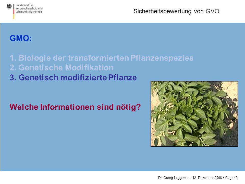 Dr. Georg Leggewie 12. Dezember 2006 Page 45 Sicherheitsbewertung von GVO GMO: 1. Biologie der transformierten Pflanzenspezies 2. Genetische Modifikat