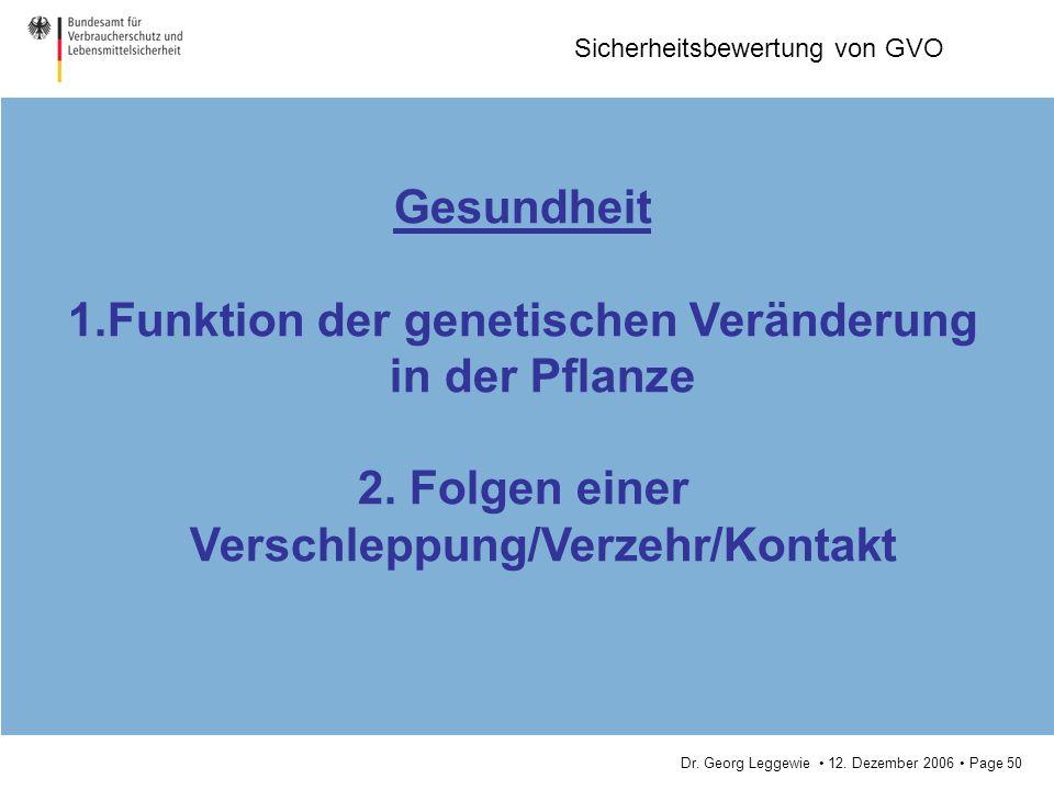 Dr. Georg Leggewie 12. Dezember 2006 Page 50 Sicherheitsbewertung von GVO Gesundheit 1.Funktion der genetischen Veränderung in der Pflanze 2. Folgen e