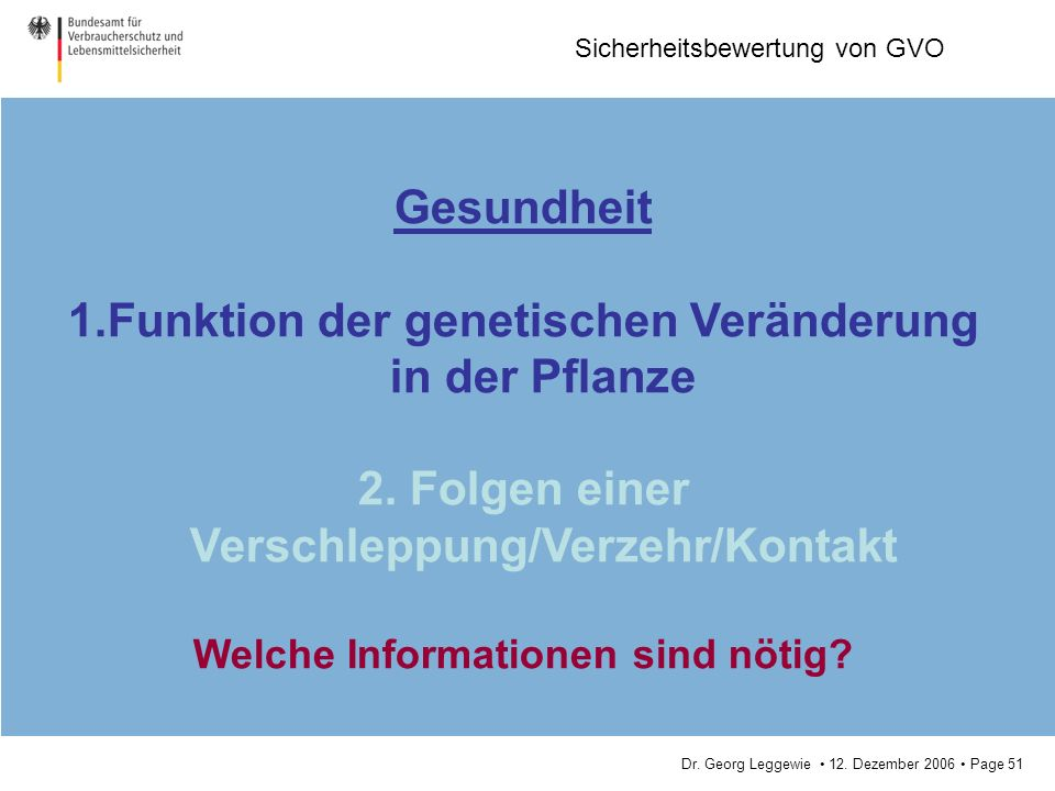 Dr. Georg Leggewie 12. Dezember 2006 Page 51 Sicherheitsbewertung von GVO Gesundheit 1.Funktion der genetischen Veränderung in der Pflanze 2. Folgen e