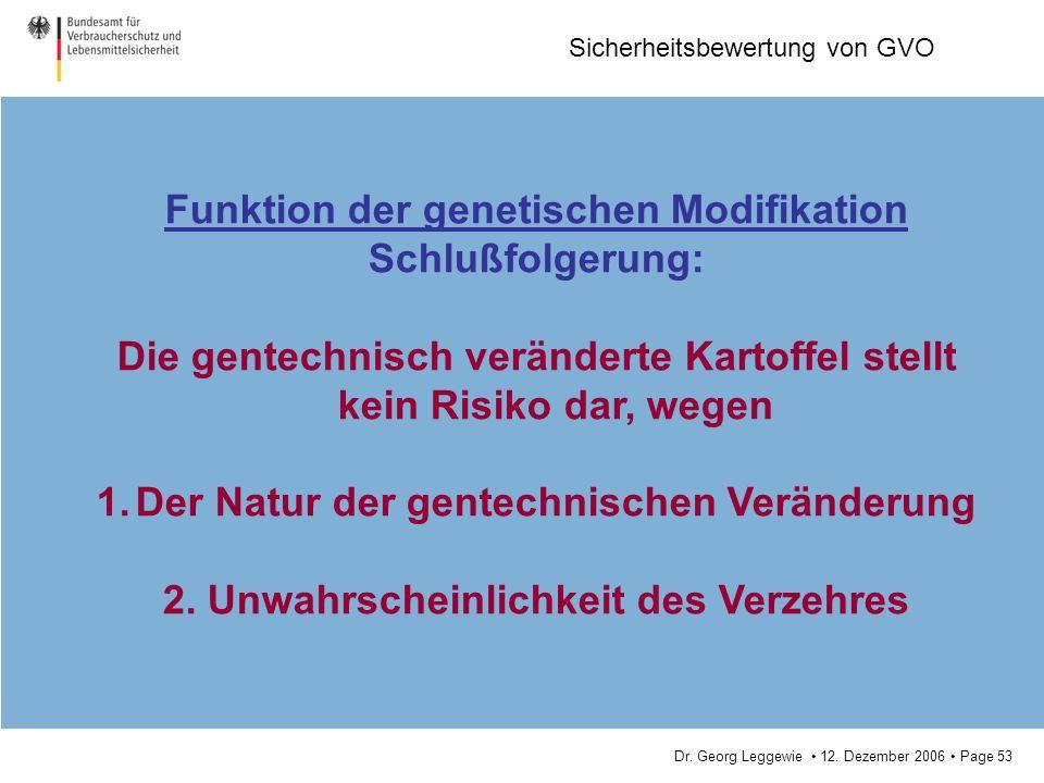 Dr. Georg Leggewie 12. Dezember 2006 Page 53 Sicherheitsbewertung von GVO Funktion der genetischen Modifikation Schlußfolgerung: Die gentechnisch verä