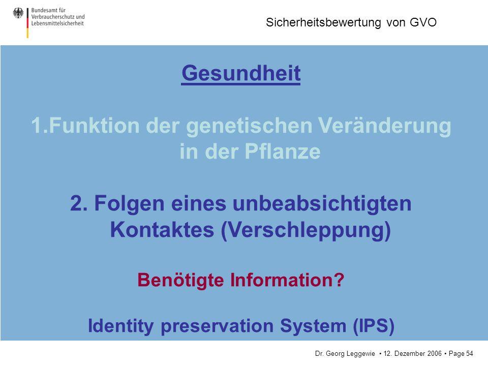 Dr. Georg Leggewie 12. Dezember 2006 Page 54 Sicherheitsbewertung von GVO Gesundheit 1.Funktion der genetischen Veränderung in der Pflanze 2. Folgen e