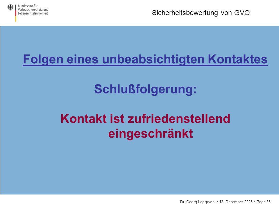 Dr. Georg Leggewie 12. Dezember 2006 Page 56 Sicherheitsbewertung von GVO Folgen eines unbeabsichtigten Kontaktes Schlußfolgerung: Kontakt ist zufried