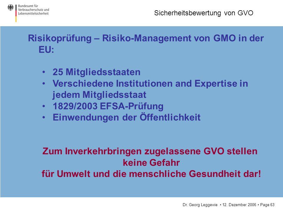 Dr. Georg Leggewie 12. Dezember 2006 Page 63 Sicherheitsbewertung von GVO Risikoprüfung – Risiko-Management von GMO in der EU: 25 Mitgliedsstaaten Ver