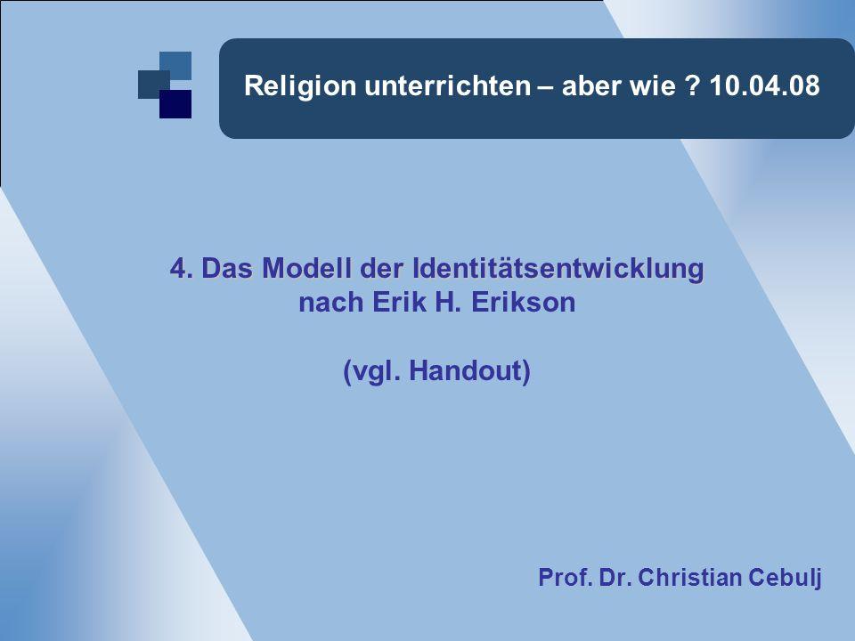 Religion unterrichten – aber wie . 10.04.08 4. Das Modell der Identitätsentwicklung nach Erik H.