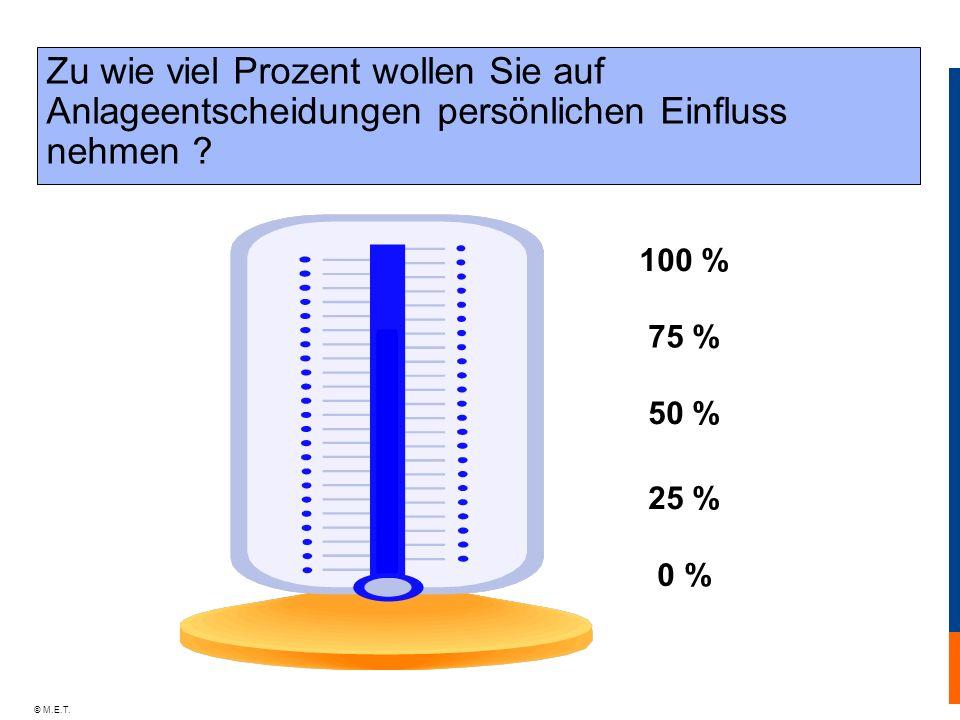 © M.E.T. Zu wie viel Prozent wollen Sie auf Anlageentscheidungen persönlichen Einfluss nehmen ? 100 % 0 % 50 % 75 % 25 %