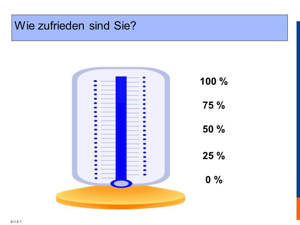 © M.E.T. Wie zufrieden sind Sie? 100 % 0 % 50 % 75 % 25 %