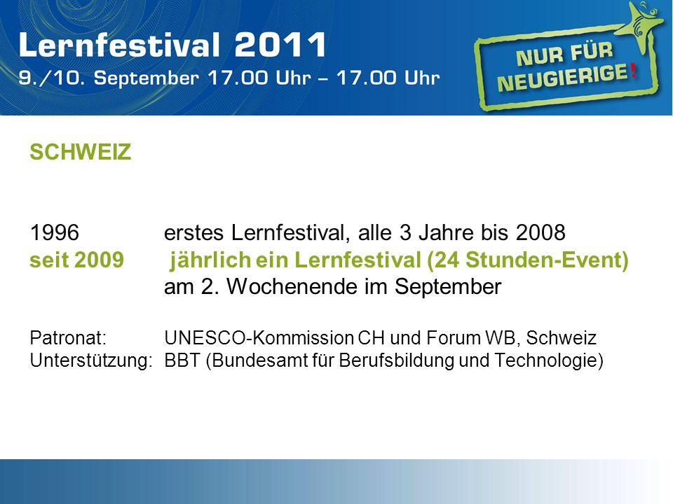 SCHWEIZ 1996 erstes Lernfestival, alle 3 Jahre bis 2008 seit 2009 jährlich ein Lernfestival (24 Stunden-Event) am 2. Wochenende im September Patronat: