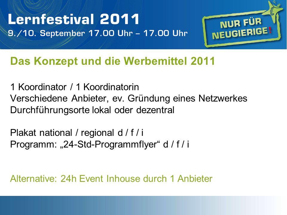 Das Konzept und die Werbemittel 2011 1 Koordinator / 1 Koordinatorin Verschiedene Anbieter, ev. Gründung eines Netzwerkes Durchführungsorte lokal oder