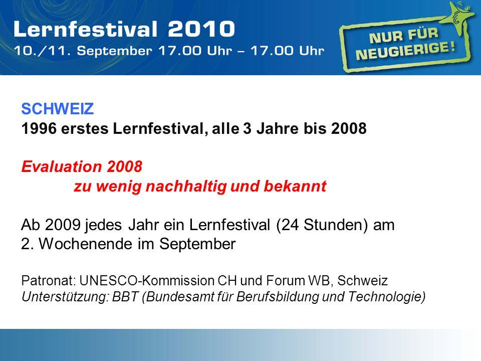 SCHWEIZ 1996 erstes Lernfestival, alle 3 Jahre bis 2008 Evaluation 2008 zu wenig nachhaltig und bekannt Ab 2009 jedes Jahr ein Lernfestival (24 Stunde