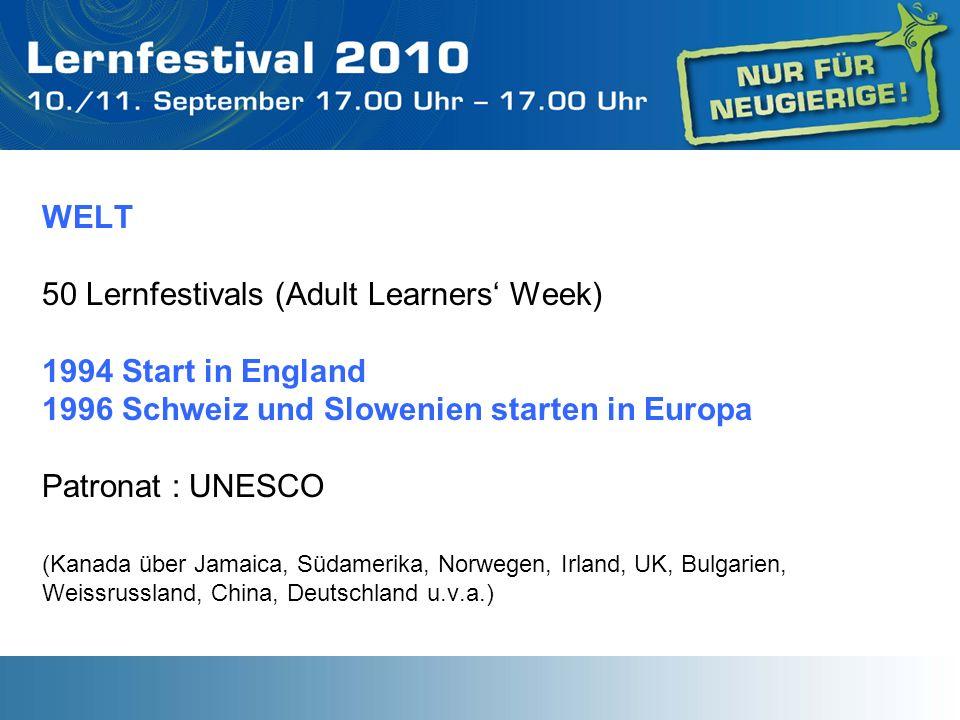 WELT 50 Lernfestivals (Adult Learners Week) 1994 Start in England 1996 Schweiz und Slowenien starten in Europa Patronat : UNESCO (Kanada über Jamaica,