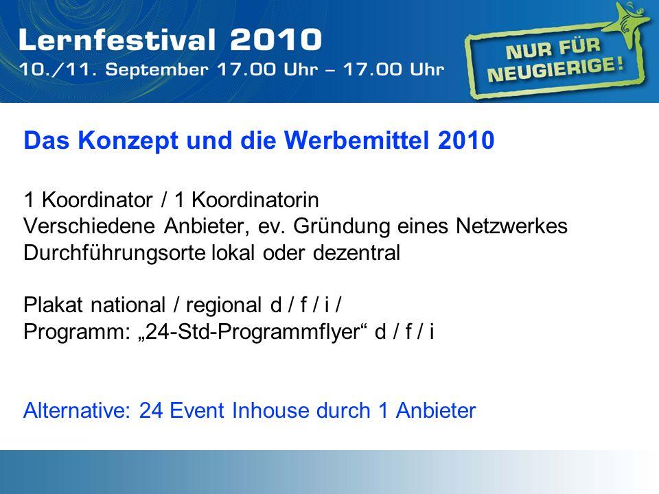 Das Konzept und die Werbemittel 2010 1 Koordinator / 1 Koordinatorin Verschiedene Anbieter, ev. Gründung eines Netzwerkes Durchführungsorte lokal oder