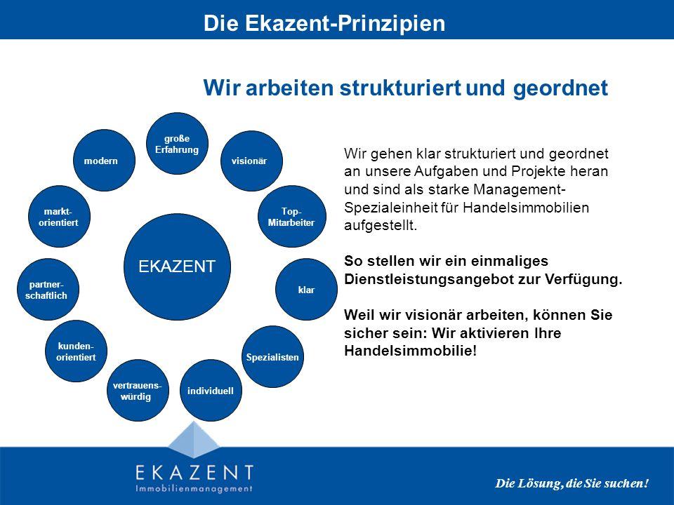 Wir arbeiten strukturiert und geordnet Die Ekazent-Prinzipien Die Lösung, die Sie suchen.
