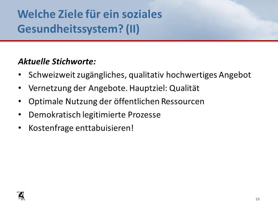 Welche Ziele für ein soziales Gesundheitssystem? (II) Aktuelle Stichworte: Schweizweit zugängliches, qualitativ hochwertiges Angebot Vernetzung der An