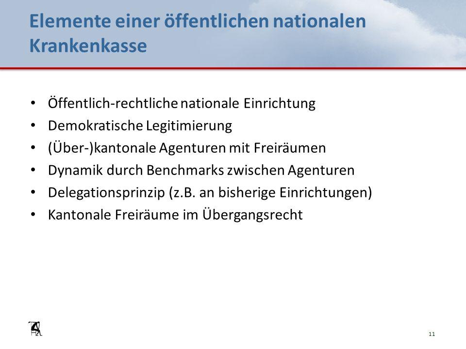 Elemente einer öffentlichen nationalen Krankenkasse Öffentlich-rechtliche nationale Einrichtung Demokratische Legitimierung (Über-)kantonale Agenturen