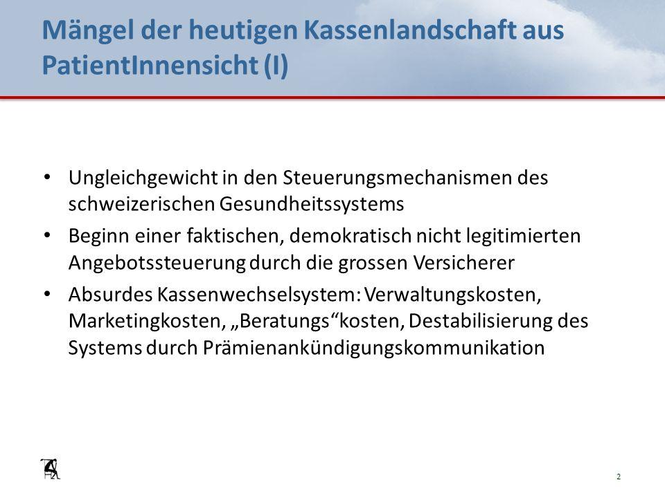 Mängel der heutigen Kassenlandschaft aus PatientInnensicht (I) Ungleichgewicht in den Steuerungsmechanismen des schweizerischen Gesundheitssystems Beg