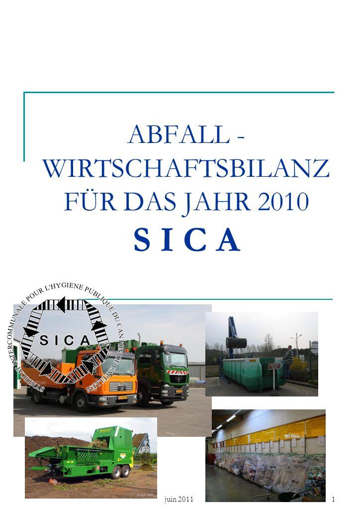 juin 20111 ABFALL - WIRTSCHAFTSBILANZ FÜR DAS JAHR 2010 S I C A