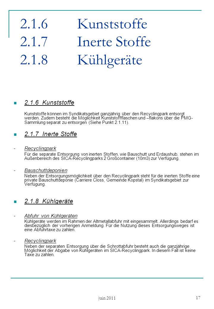 juin 2011 17 2.1.6Kunststoffe 2.1.7Inerte Stoffe 2.1.8Kühlgeräte 2.1.6Kunststoffe Kunststoffe können im Syndikatsgebiet ganzjährig über den Recyclingpark entsorgt werden.